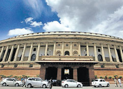 A view of the Parliament house in New Delhi.