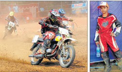 Riders practicing for the Gulf Dirt Track National Championship at Fisheries College Grounds on Saturday. (Right) Youngest participant Yash Pawar. DH Photos