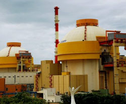 File picture of the two reactors of the Koodankulam Nuclear Power Plant (KKNPP) situated at Koodankulam in Tirunelveli district. Tamil Nadu government on Monday announced that it has decided to make the Kudankulam Nuclear Power Plant (KKNPP) operational at the earliest. PTI