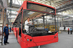 A city bus being manufactured at the Pune facility.