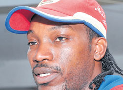game changer: Chris Gayle during a media interaction session at the Chinnaswamy stadium on Friday. DH PHOTO