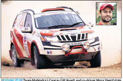 Revving it up : Team Mahindra's Gaurav Gill (inset) and co-driver Musa Sherif stole the limelight in the Dakshin Dare rally.