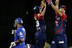 New Delhi : Delhi Daredevils' players celebrate after beating Rajasthan Royals during their IPL-5 match in New Delhi on Sunday. PTI Photo by Aman Sharma