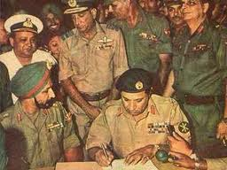 File photo: Lt Gen A.A.K. Niazi Surrendering to Lt Gen J.S. Aurora in the 1971 war.