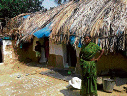 Residents of Chikkakurugodu village in Gauribidanur living in dilapidated houses. DH Photo