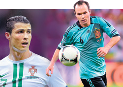 Portugal's Cristiano Ronaldo (left) and Spain's Andres Iniesta will hold the aces when the two teams face off in the Euro 2012 semifinal in Donetsk on Wednesday. AFP