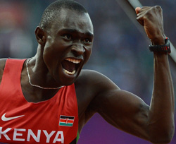 Kenya's gold medalist David Lekuta Rudisha celebrates after winning the men's 800 final at the athletics event during the London 2012 Olympic Games on August 9, 2012 in London. Rudisha won the men's 800 metres Olympic title in a new world record of 1min 40.91sec. AFP