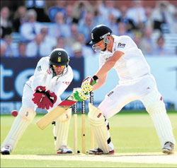 England's Jonny Bairstow cuts en route his 95 against South Africa at Lord's. AFP