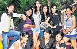 Good times: The girls from T John College and Vogue Institute of Fashion Technology. DH photos by B K Janardhan