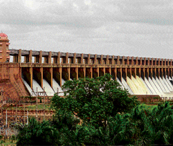 flowing prosperity: Water being released from the Tungabhadra dam near Hospet in Bellary district. DH Photos