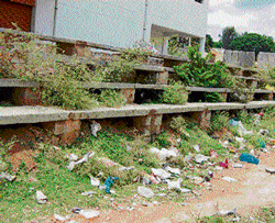 no play: The steps leading to the basketball court at the mini stadium in Kolar are covered in weeds and lack hygiene. dh photo
