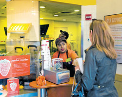 all for money: A Jamba Juice store, which uses powerful scheduling software that even uses weather forecasts in determining how many workers and hours are needed, in New York. NYT