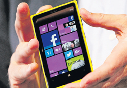 A file photo of a Nokia Lumia 920 smartphone running on Windows 8. REUTERS