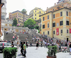 The Spanish Steps and the Keats-Shelley Museum to its right. Photo by Adrian  Pingstone/wikimedia commons