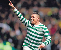 Celtic's Gary Hooper celebrates after scoring against Spartak Moscow on Wednesday. AFP
