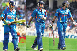 Gautam Gambhir, Virat Kohli and Yuvraj Sin-gh will have to take the responsibility of rescuing India. PTI