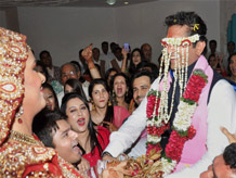 Bollywood actress Udita Goswami and director Mohit Suri during their wedding ceremony in Mumbai on Tuesday. PTI Photo