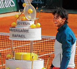 Sweet birthday for champ Nadal; Djokovic shines
