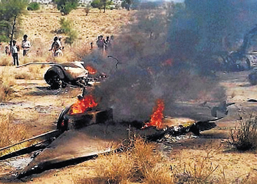 MiG crashes in Barmer, pilot ejects safely
