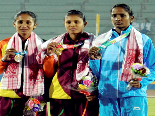 Mayookha leaps to long jump gold