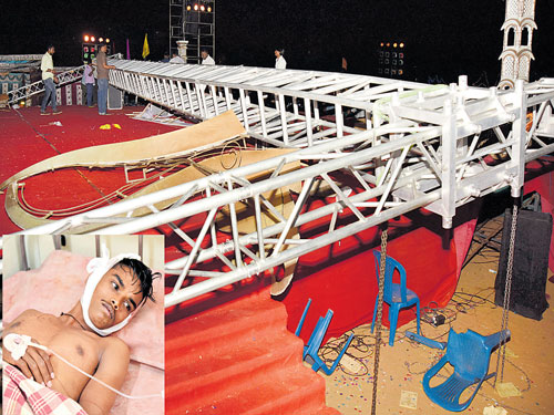 6 children, 2 teachers hurt as gantry falls on stage