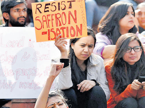 Students, teachers of top institutes protest in City