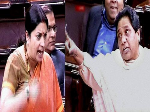 Face-off again between Irani and Mayawati in RS