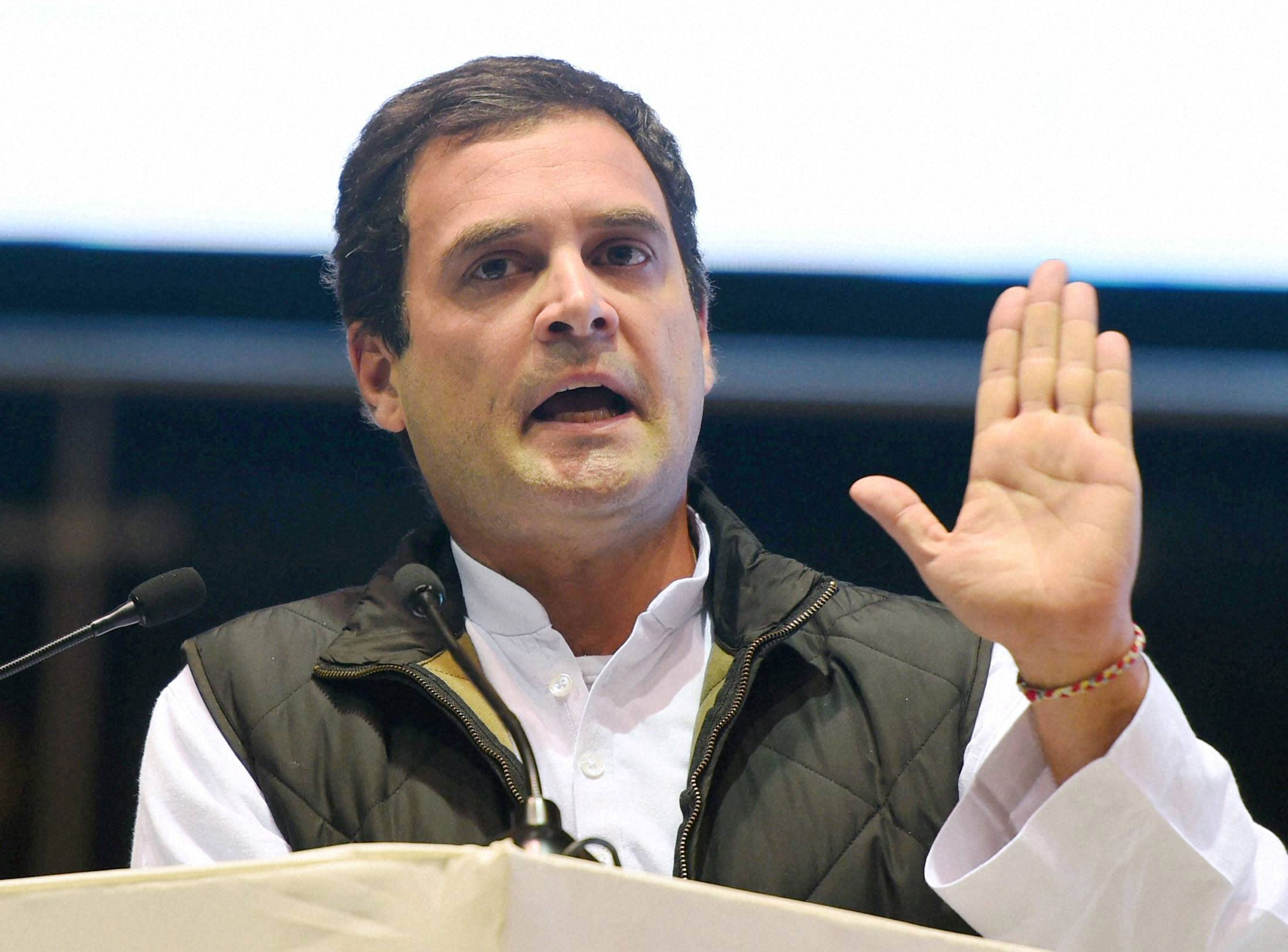Rahul says BJP used money power to form govts in Manipur, Goa