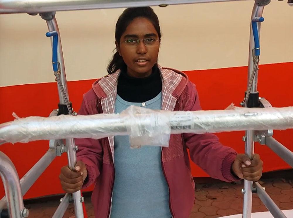 Teenage girl's adjustable walker boon for elderly, disabled