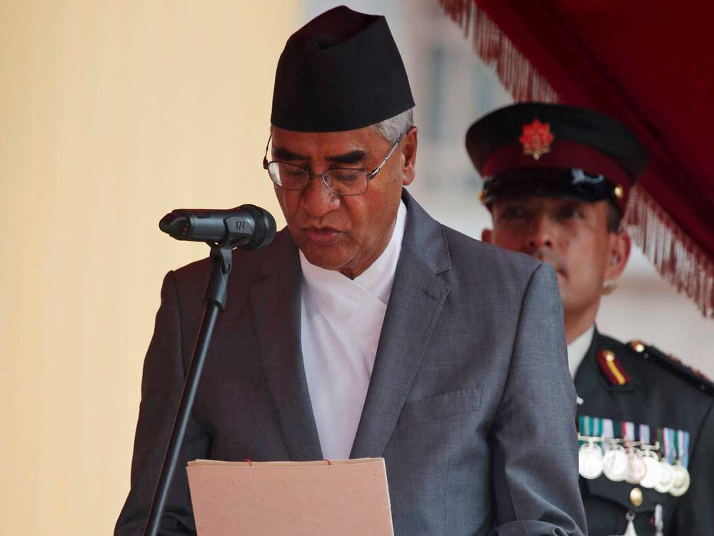 Newly-elected Nepal PM Deuba takes oath of office
