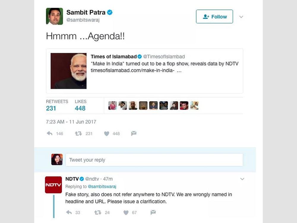 BJP spokesperson Sambit Patra's attempt to get back at NDTV backfires