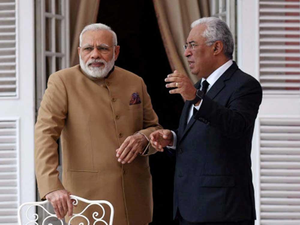 Modi presents OCI card to Portugal's Indian-origin PM Costa