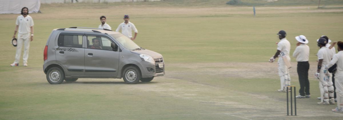 Car rams onto the ground during Ranji match