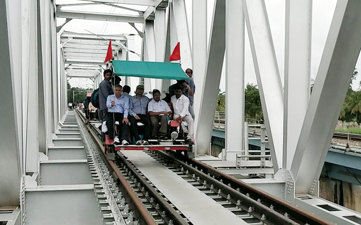 CRS officials inspects rly track work in Srirangapatna