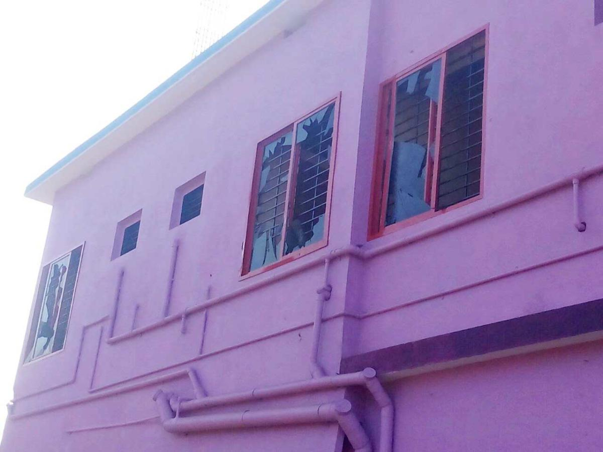 Window panes of building damaged