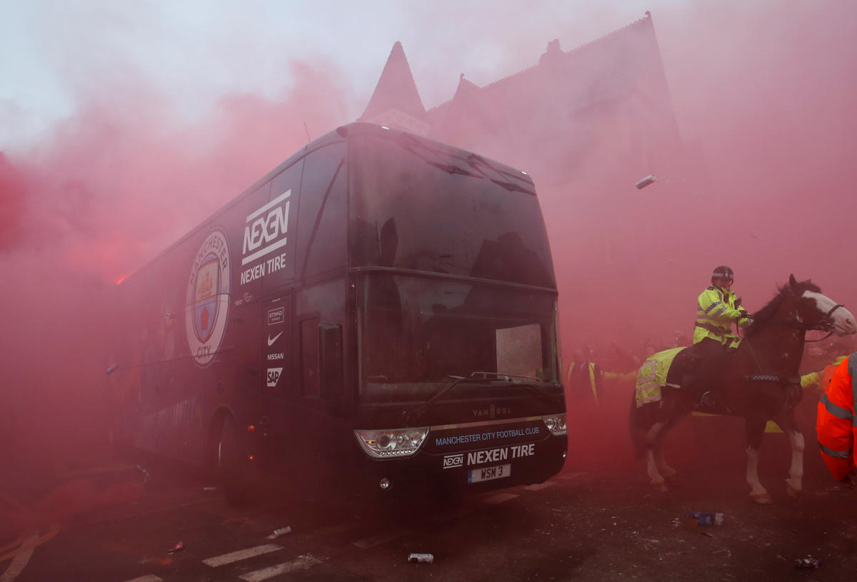 Manchester City's bus attacked in Liverpool
