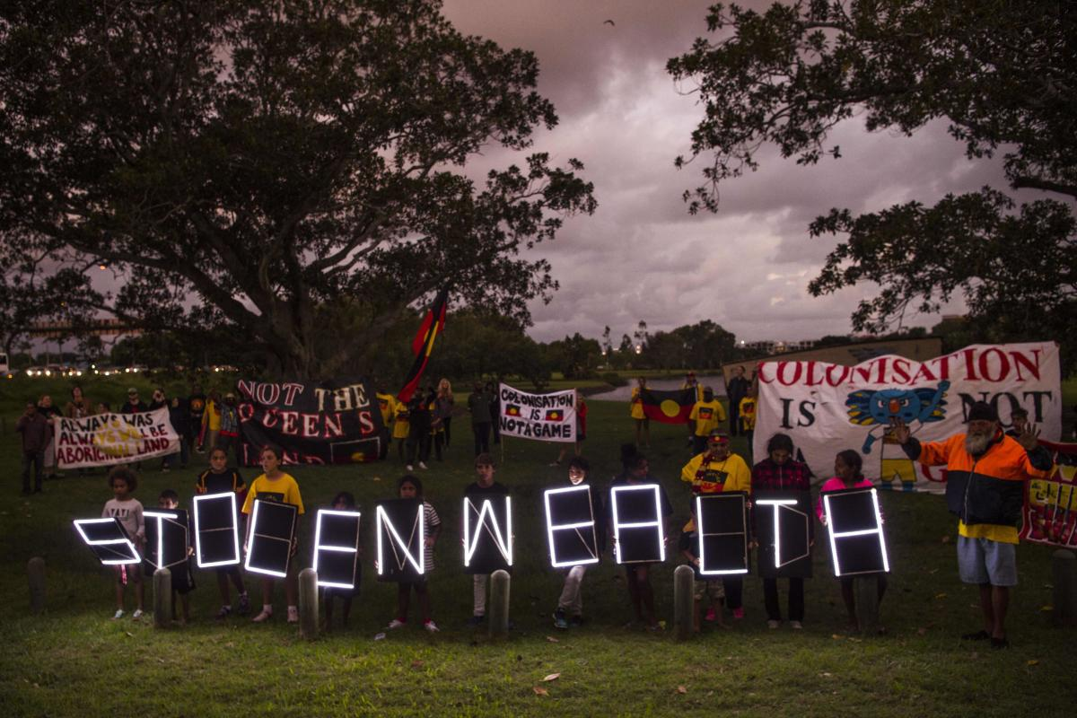This is Stolenwealth Games: Aboriginal protesters