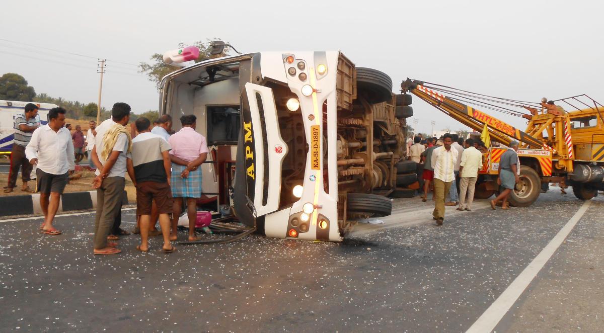 2 killed, 15 injured as speeding bus topples