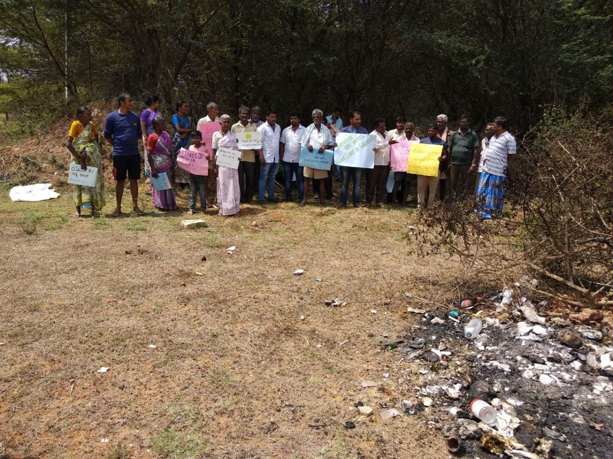 Protest against the illegal encroachment of the Somapura and Yamare lake