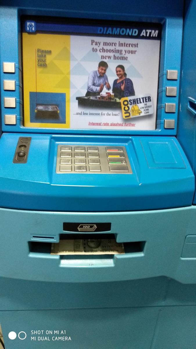 UCO Bank's ATM on MG Road worked fine and dispensed cash.