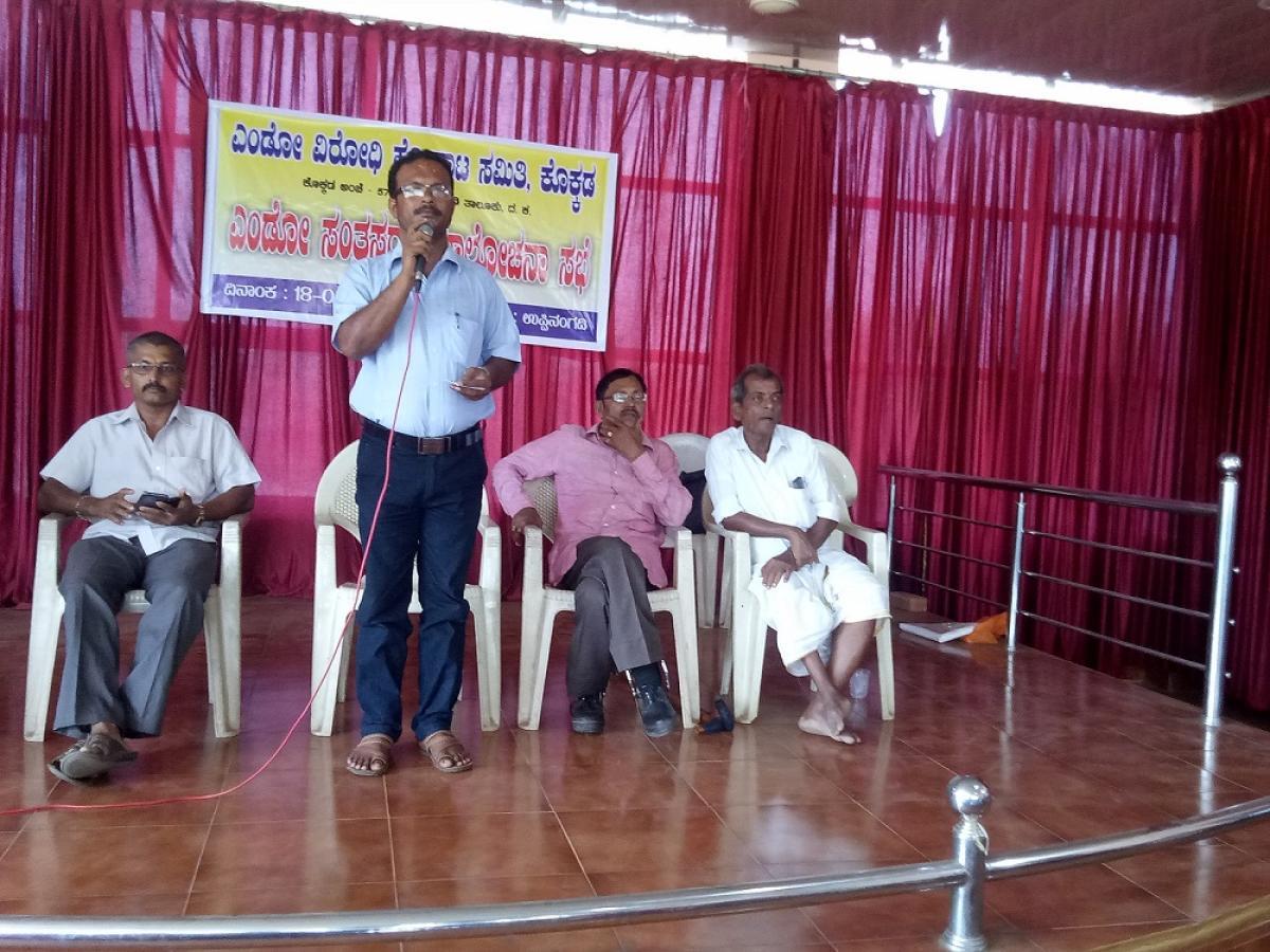 Sridhar Gowda of Endo Virodhi Horata Samithi speak at a preparatory meeting of endosulfan victims in Uppinangady on Wednesday.