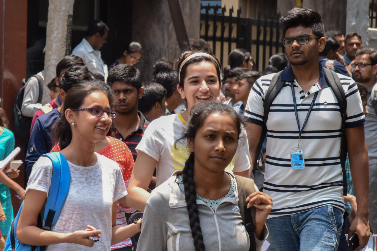 Students came out after written The Common Entrance Test (CET) for admit Engineering, Medical and other courses conducted by Karnataka Examinations Authority, at Seshadripuram College, Seshadripuram in Bengaluru on Wednesday. Photo by S K Dinesh