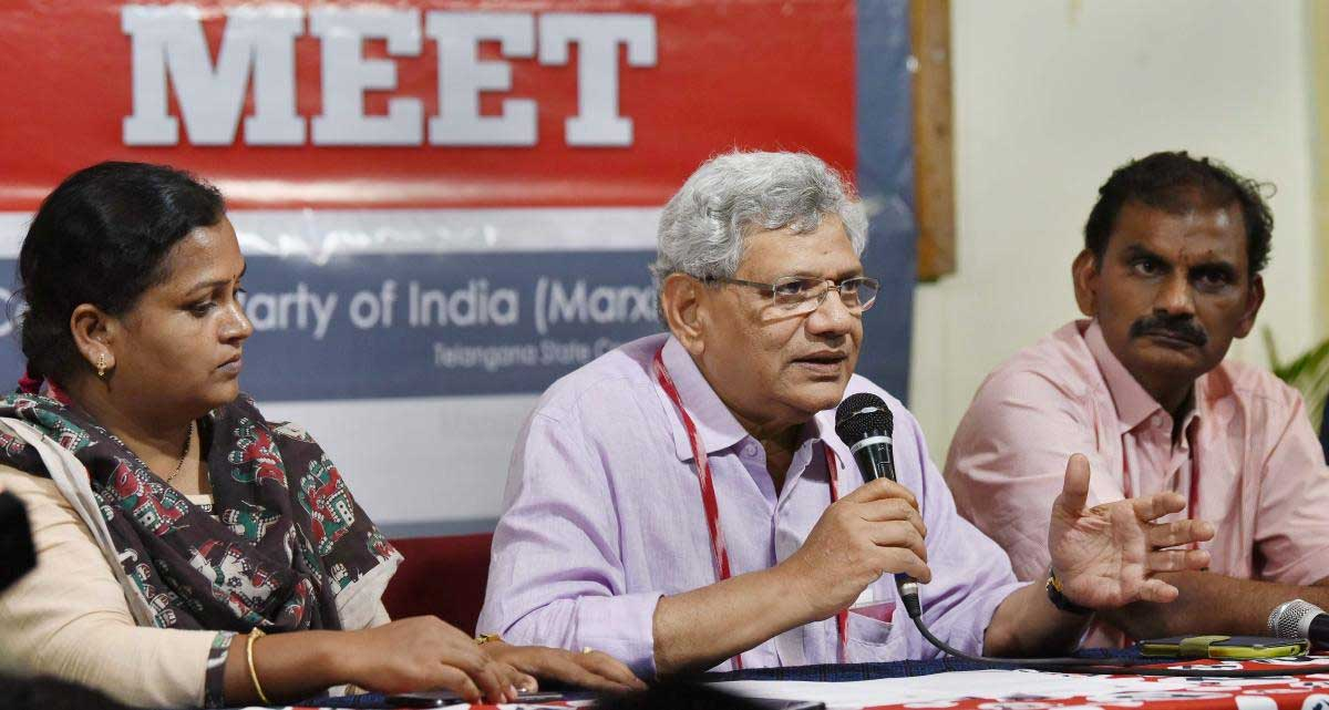 CPI(M) General Secretary Sitaram Yechury addresses the media persons as part of the 22nd Party National Congress in Hyderabad. (PTI Photo)