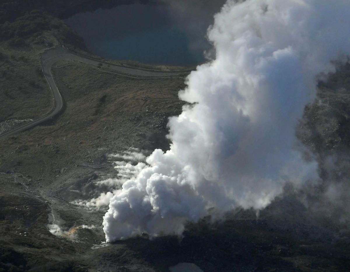 An aerial view shows Io Yama erupting in Miyazaki prefecture, on the southwest island of Kyushu, Japan, in this photo taken by Kyodo April19, 2018. Kyodo/via REUTERS