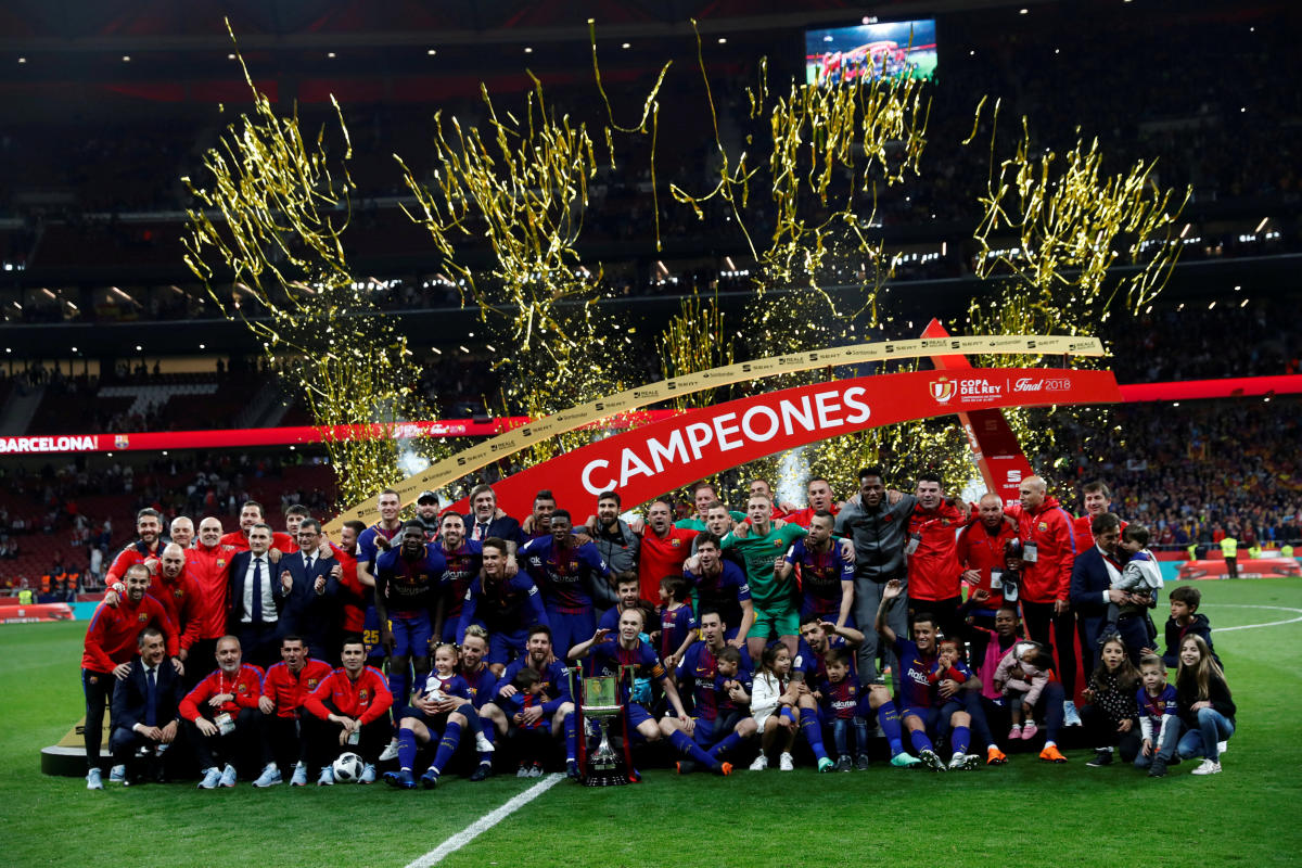 Barcelona players and staff are celebrating after winning the King's Cup Final match REUTERS.