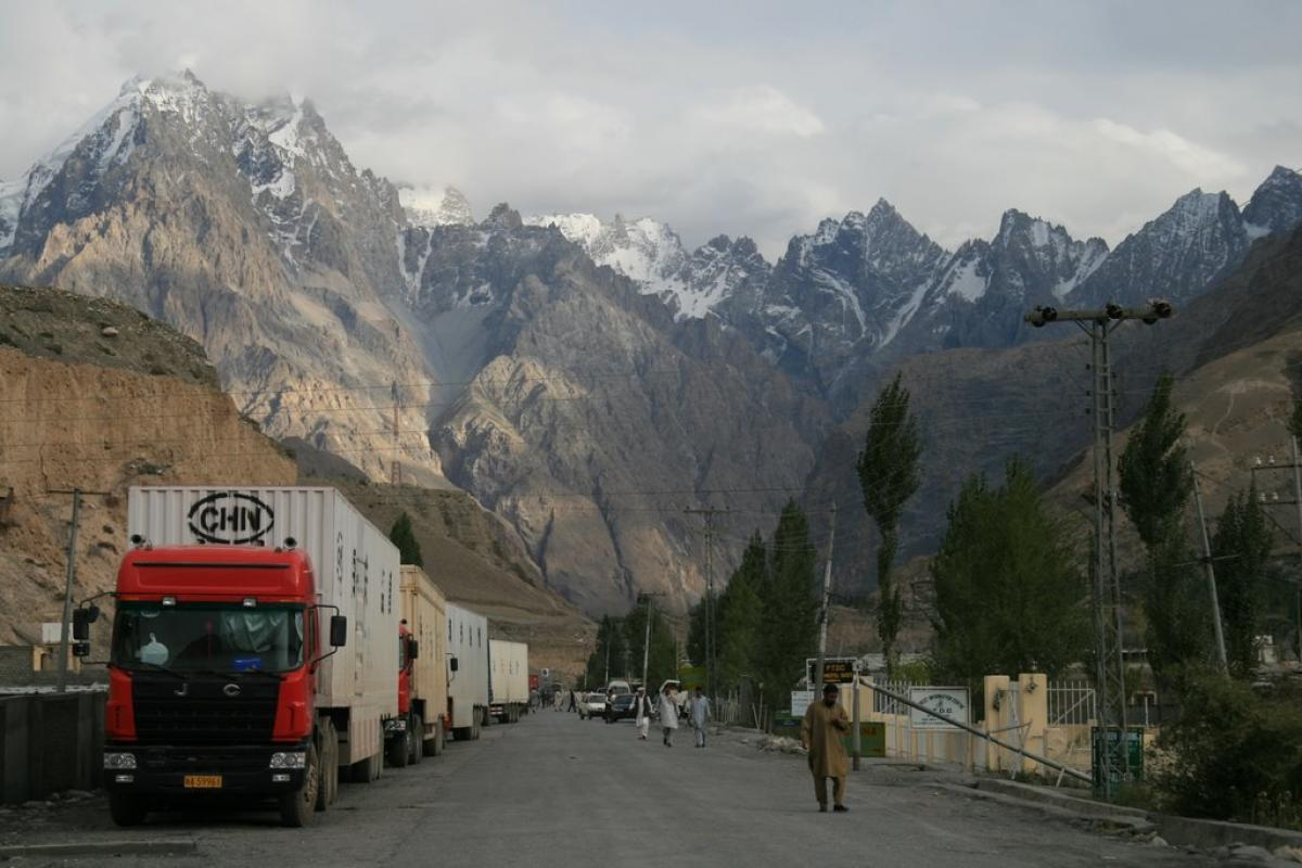 Chinese cargo trucks awaiting Pakistan Customs clearance at Sost. File photo