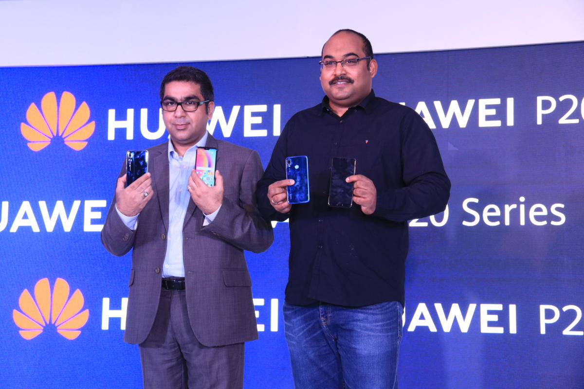 Huawei India officials unveil P20 Pro and P20 lite in New Delhi on Tuesday.