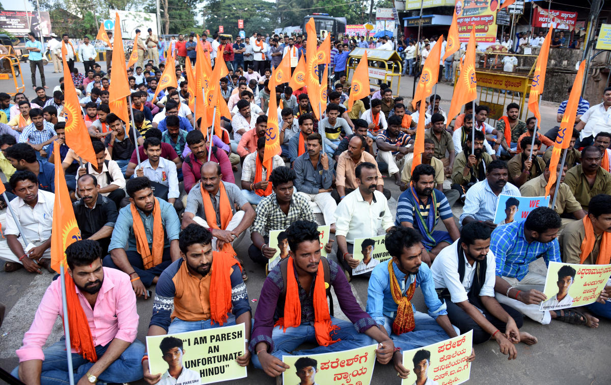 Protests had erupted in Uttara Kannada district following the murder of Hindu activist Paresh Mesta in Honnavar, during December 2017