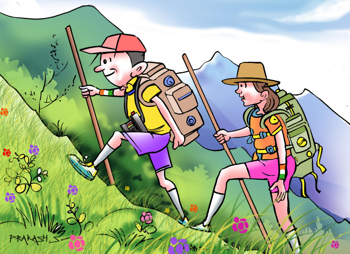 Students can do a variety of activities like trekking, gardening and pet walking during the vacation. DH ILLUSTRATION BY PRAKASH S