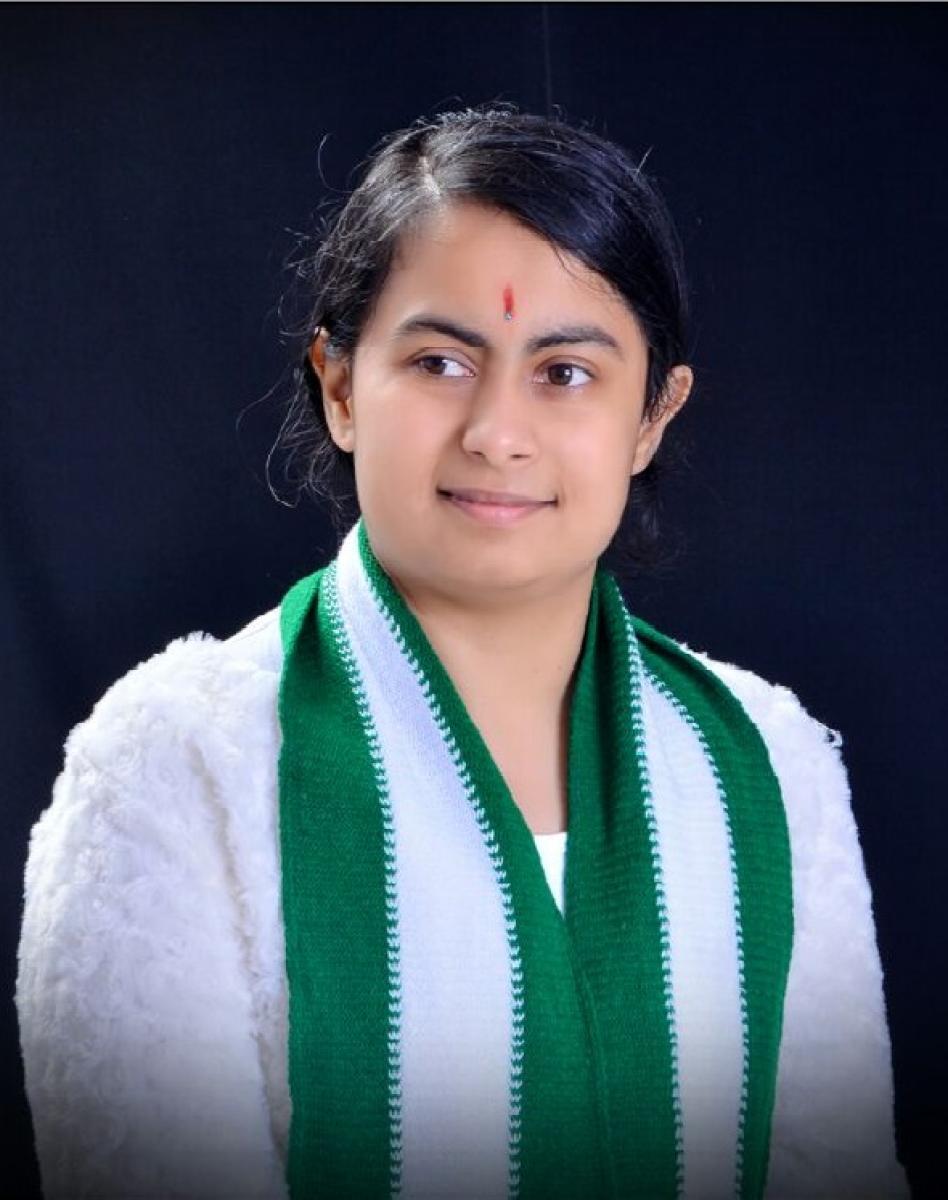 JD(S) state Yuva Mahila Raitha Dal president Chaitra Gowda. DH Photo.